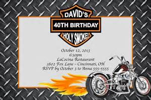 motorcycle custom designed birthday invitation with or