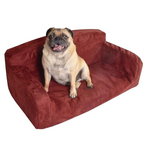 dog settee sofa designer pet sofa dog bed red pink faux suede lounge