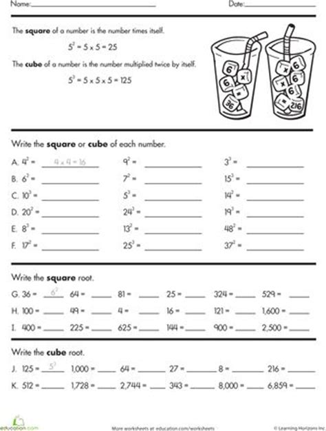 Square And Cube Roots Worksheet by The World S Catalog Of Ideas