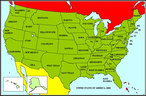 map of usa showing different states different states usa alternate history discussion