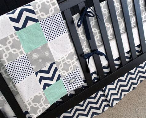 mint and grey bedding custom crib bedding mint navy and grey baby bedding