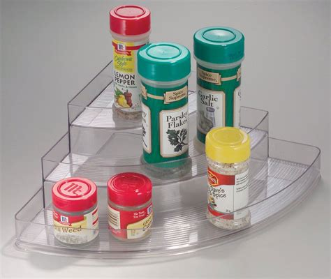 Corner Spice Shelf Clear Plastic Three Tier Corner Spice Rack In Spice Racks