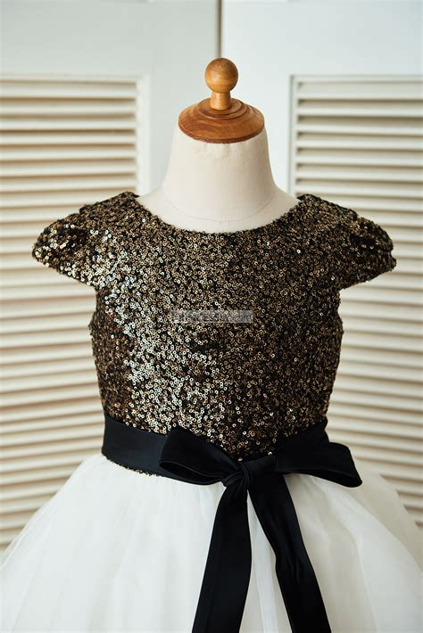 Dress Navy Flower With Belt cap sleeves gold sequin ivory tulle flower dress with navy blue sash avivaly