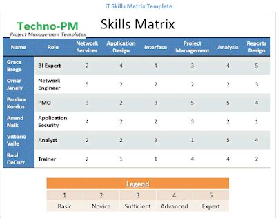 Skills Matrix Template Free Project Management Templates Skill Template