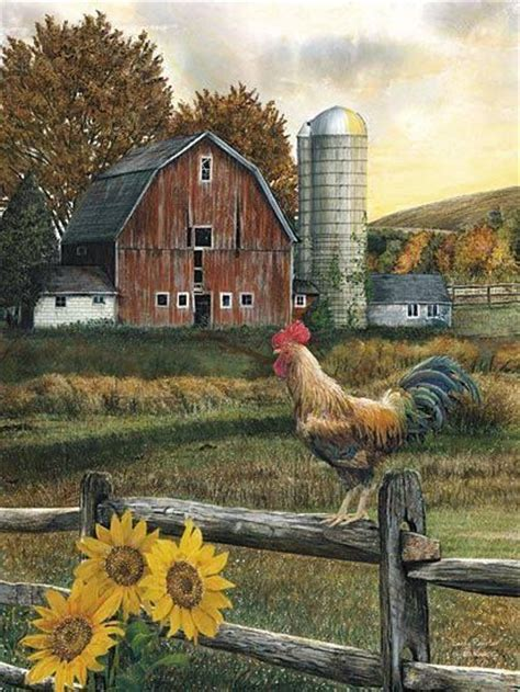 country farm paintings with barn morning farm the country