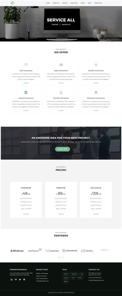 themeforest insurance theme iasion insurance agency wordpress theme by themenow