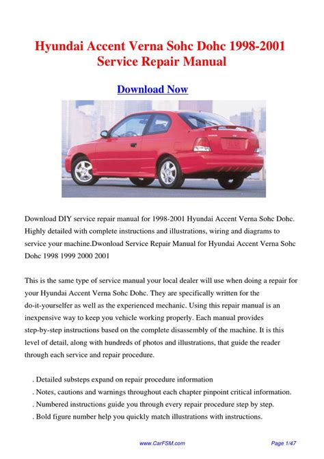 how to download repair manuals 2007 hyundai accent engine control 1998 2001 hyundai accent verna sohc dohc service repair manual by gong dang issuu