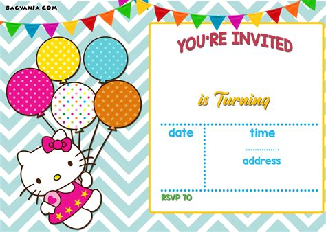 hello kitty printable invitation template free hello kitty invitation templates drevio invitations