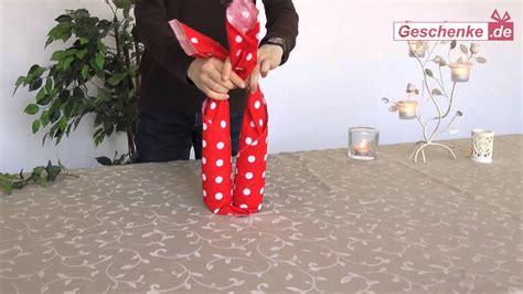 geschenkverpackung fuer wein sekt diy furoshiki youtube
