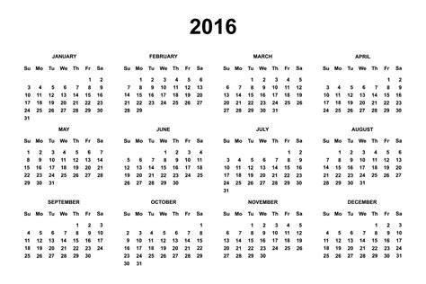 printable version of a 2016 calendar 2016 calendar free large images