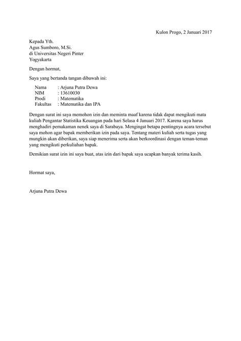 Contoh Surat Izin Sakit Tidak Hadir Sekolah by Contoh Surat Izin Tidak Masuk Kuliah Yang Baik
