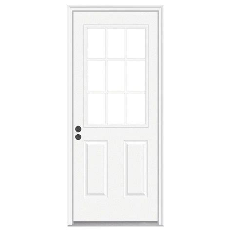 32 In X 80 In 9 Lite Primed Steel Prehung Right Hand 9 Lite Exterior Door