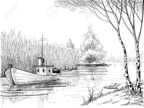 stock photo en  croquis de paysage dessin paysage