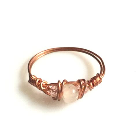 Handmade Copper Rings - wire wrapped jewelry handmade copper ring swarovski by