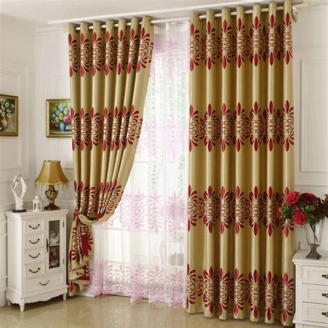 cheap gold curtains cheap gold and red floral polyester room darkening curtains