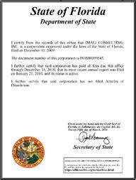 florida good standing certificate florida certificate of