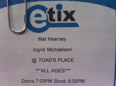 Mat Kearney Concert Tickets by Tickets And Brightness Becky Krause