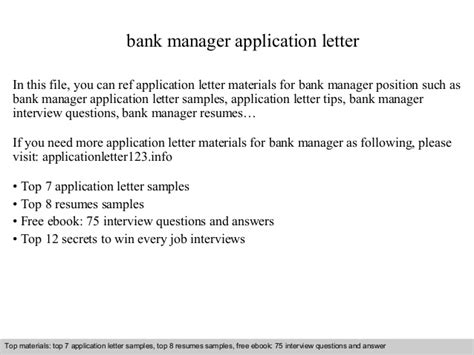 Application Letter Bank Manager Bank Manager Application Letter