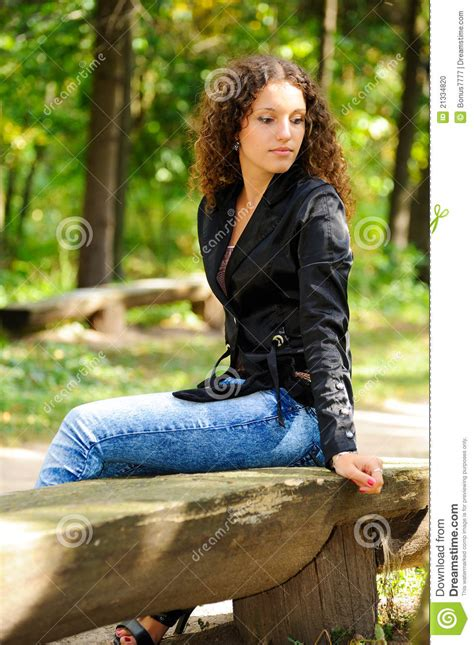 bench girl girl on a bench stock photo image 21334820
