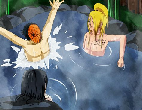 naruto hot springs fanfiction deidara and tobi and oc at the hot springs by shikafy on
