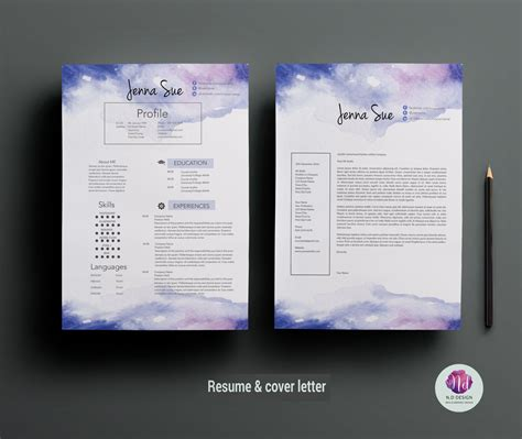 creative cv template cover letter template watercolor
