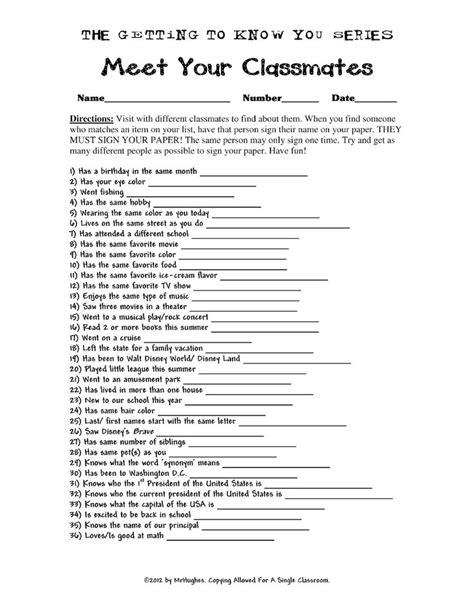 Day Of School Get To You Worksheet by 18 Best Images Of High School Icebreaker Worksheet Back