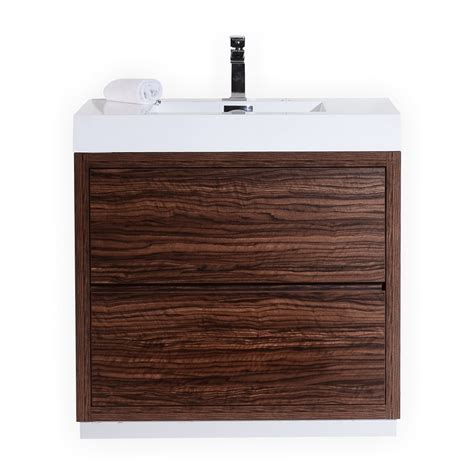bliss 36 quot walnut free standing modern bathroom vanity