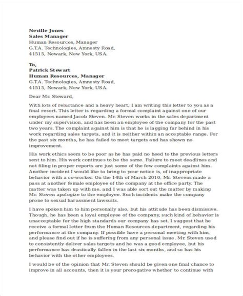 Complaint Letter Against Employee Attitude complaint letter to human resources about manager cover