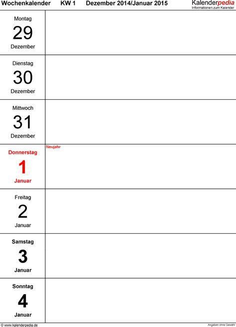 Wochen Kalender 2015 Wochenkalender 2015 Als Excel Vorlagen Zum Ausdrucken