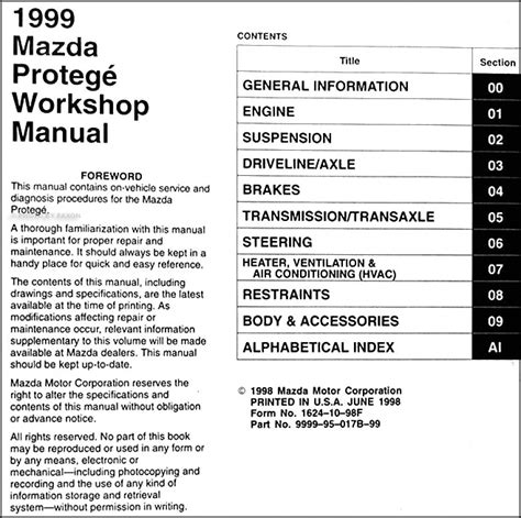 how to download repair manuals 1999 mazda b series head up display 1999 mazda protege repair shop manual original