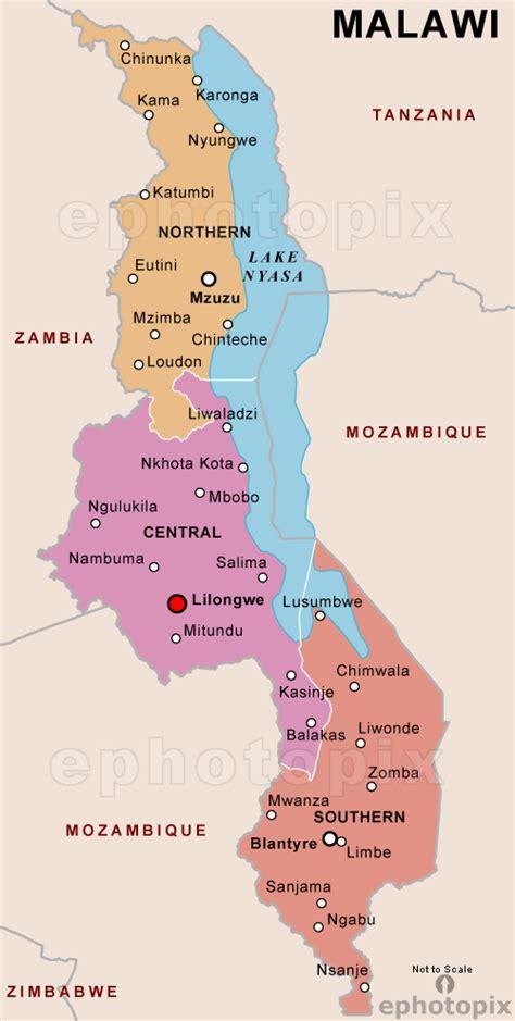 malawi map malawi politische karte