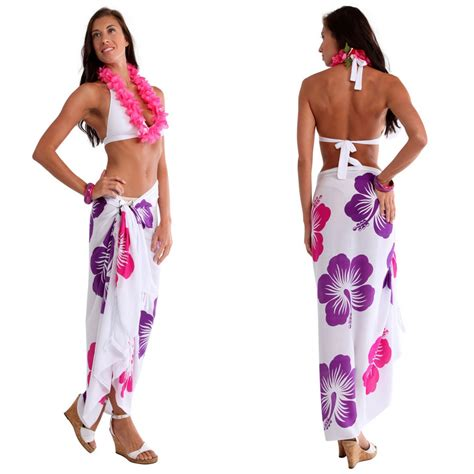 4 In 1 Honolulu Black 9cm hawaiian sarong quot purple pink white quot