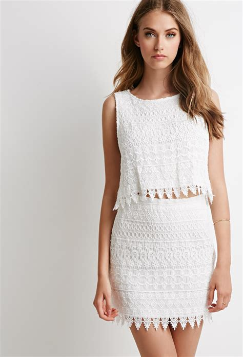 Top Set lyst forever 21 ornate lace crop top and skirt set in white