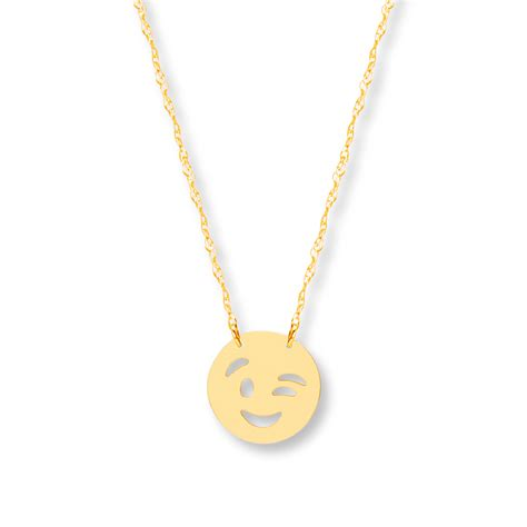 emoji necklace kay young teen winking emoji necklace 14k yellow gold