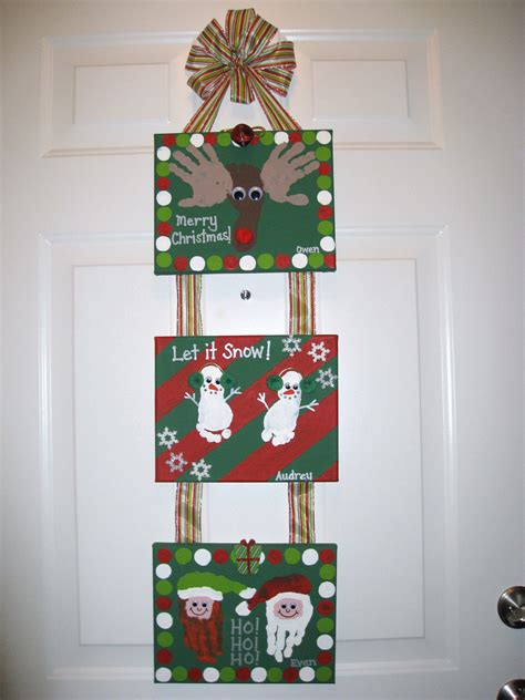 christmas handprint footprint canvas craft kid craft