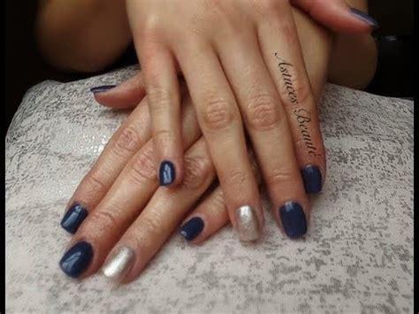 Ongle En Gel Bleu Marine by Ongles En Gel Bleu Et Dor 233