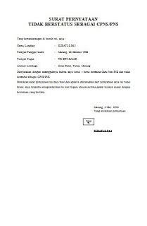format surat keterangan non pns contoh surat pernyataan tidak berstatus sebagai cpns pns