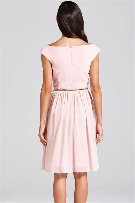 pale pink floral embroidered fit and flare dress from
