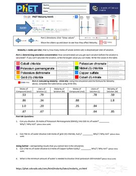 answer key video for worksheet molarity science answer best free printable worksheets