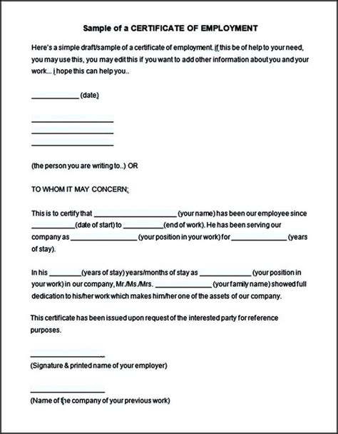 Employment Certificate Letter Doc Free Employment Certificate Template This Is To Certify Format Sle Templates