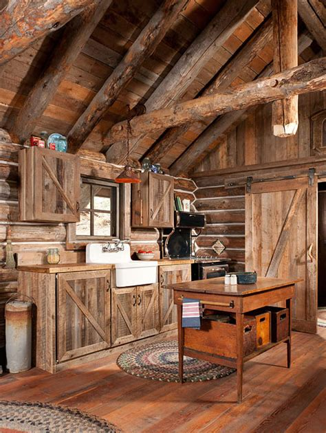 gorgeous rustic log cabin kitchen from grid world