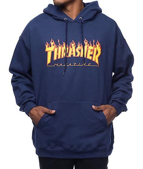 Sweater Hoodie Go Navy thrasher logo navy pullover hoodie