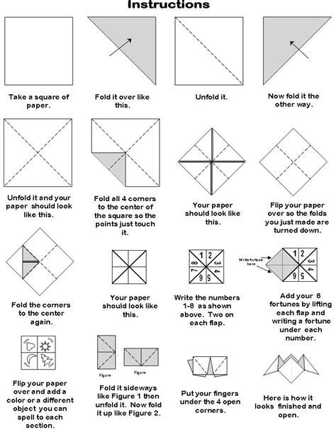 How To Fold An Origami Fortune Teller - 6 best images of printable origami fortune teller blank