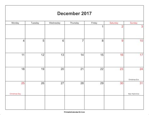 Calendar 2017 Printable December December 2017 Calendar Printable With Holidays Pdf And Jpg