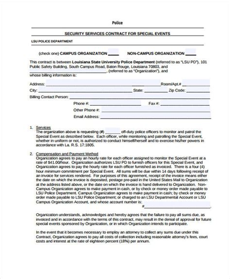security contracts templates 9 contract templates sle exles free