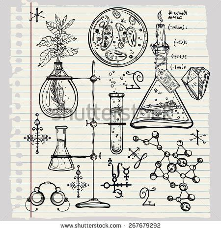 doodle soluciones biology sketches on theme biology stock vector