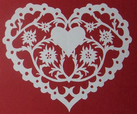 pattern paper cutting scherenschnitte papercut edelweiss heart german