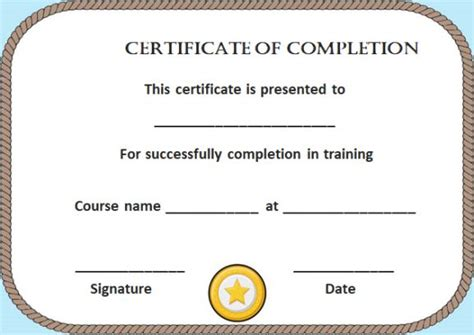 blank certificate of completion templates free certificate of completion 22 templates in word format