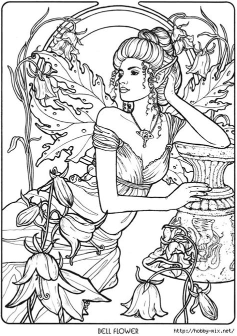 elf coloring pages for adults bellflower fairy fae fantasy myth mythical mystical legend