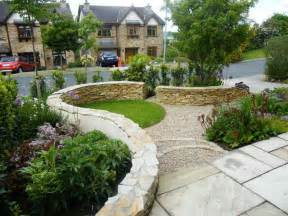 outdoor front garden design ideas with stone wall front